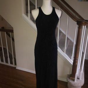 Cache black textured long cocktail party dress M